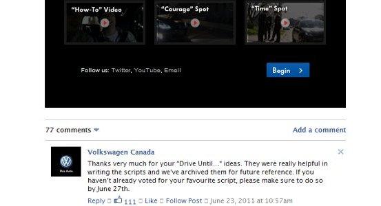 Aplikacja na Facebooka przygotowana przez Volkswagena