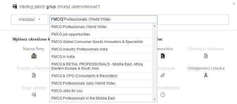 Targetowanie według grupy - reklama na LinkedIn - blog bartek-radniecki.com