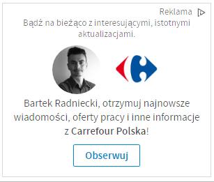 Premium Ad - reklama na LinkedIn - blog bartek-radniecki.com