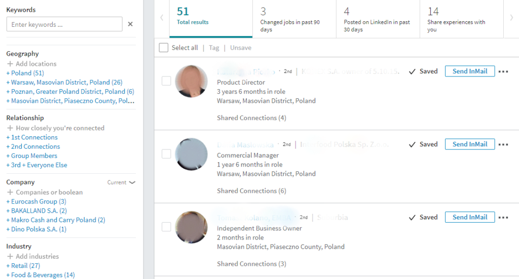 LinkedIn Sales Navigator - lista leadów